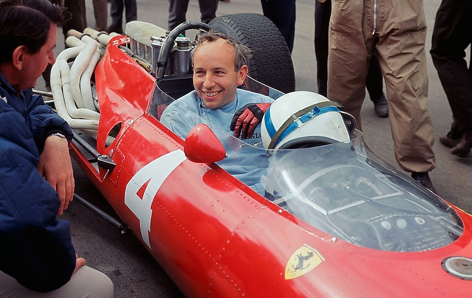 John Surtees on a Ferrari car